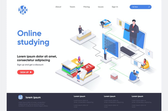 Thumbnail for Online Studying Isometric Landing Page Template