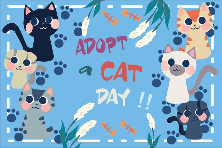 Thumbnail for Adopt Cat - Vector Illustration
