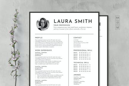 Monochrome Clean CV & Resume