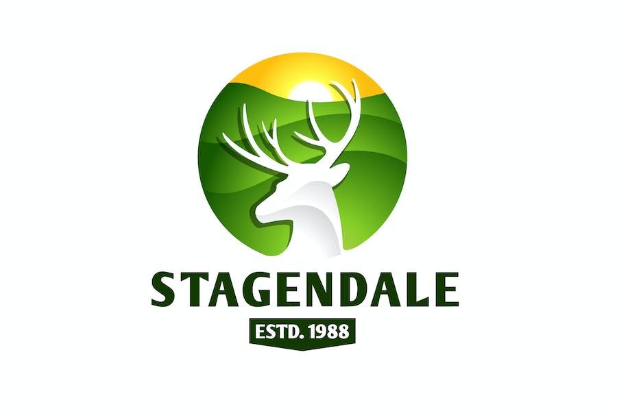 Elegant Negative Space Stag Logo