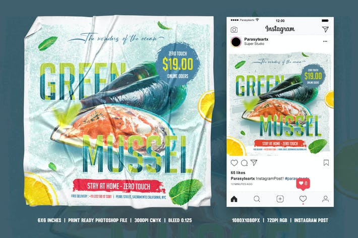 Thumbnail for Seafood square flyer & Instagram post
