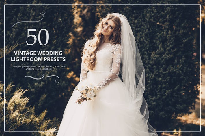 Cover Image For 50 Vintage Wedding Lightroom Presets