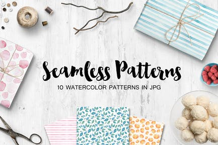 Watercolor seamless patterns set
