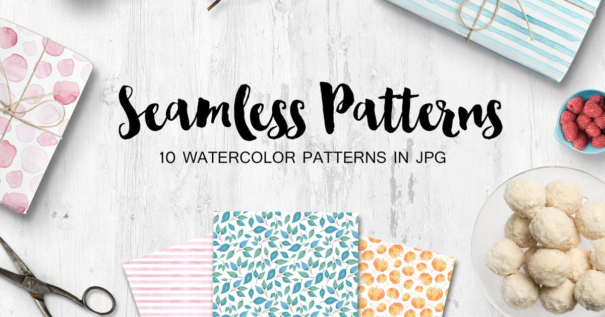 Download Watercolor seamless patterns set by switzergirl