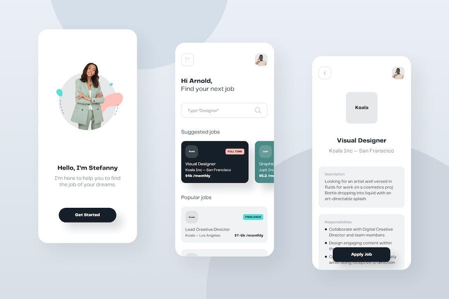 Job Board Mobile App UI Kit Template
