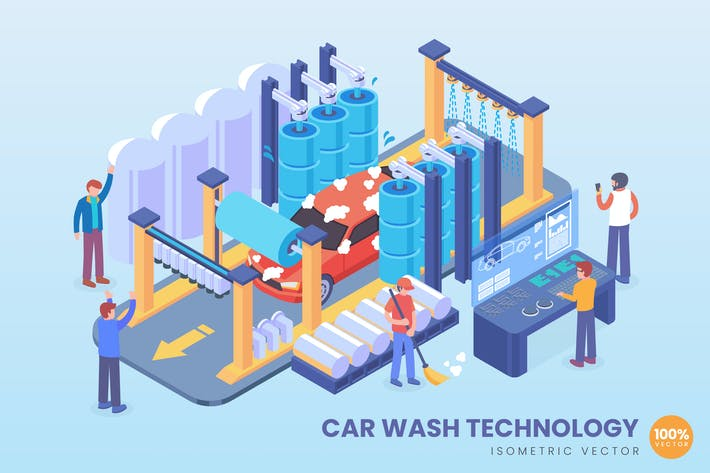 Thumbnail for Isometric Car Wash Technology Vector Concept