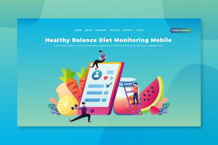 Thumbnail for Diet Monitoring Mobile - Page de destination PSD et AI