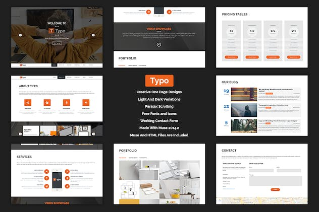 Typo - One Page MUSE Template - product preview 0