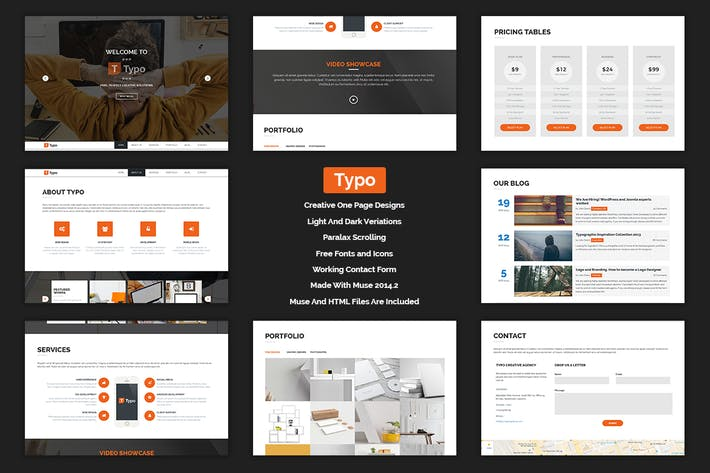 Cover Image For Typo - One Page MUSE Template