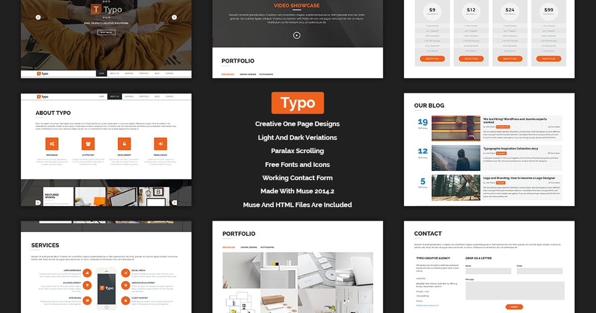 Download Typo - One Page MUSE Template by Muse-Master