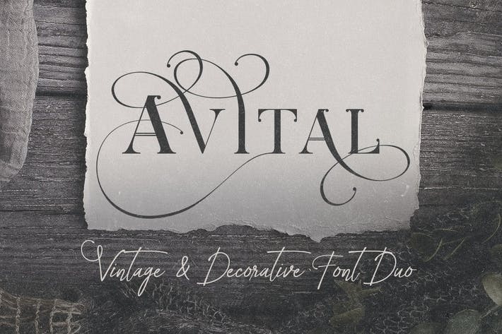 Thumbnail for Avital Decorative Font Duo