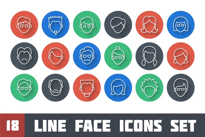 Thumbnail for Line Face Icons Set