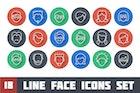 Line Face Icons Set