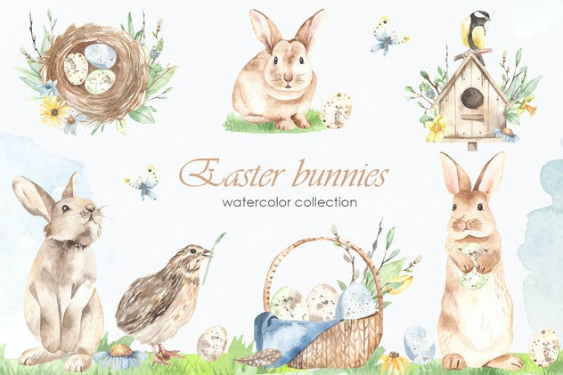 Easter bunnies watercolor