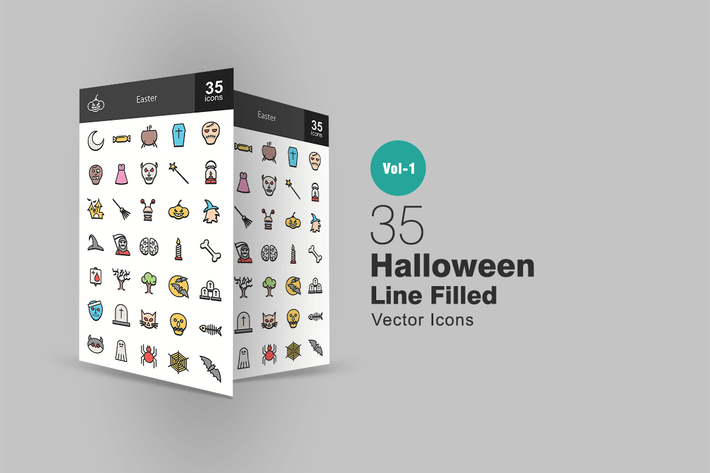 Thumbnail for 35 Halloween Line Filled Icons