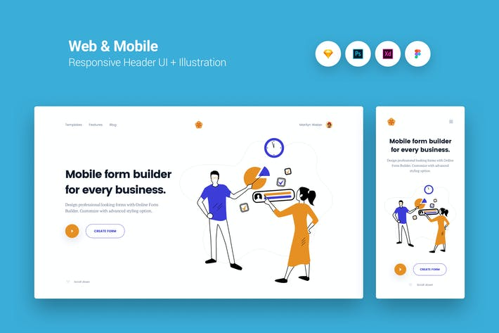Thumbnail for Web & Mobile Responsive Cover UI + Illustration 3
