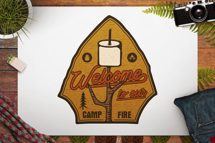 Thumbnail for Camping Patch / Hiking Badge / Vintage Travel Logo