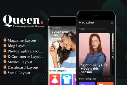 Queen - Multiconcept HTML Mobile App Template