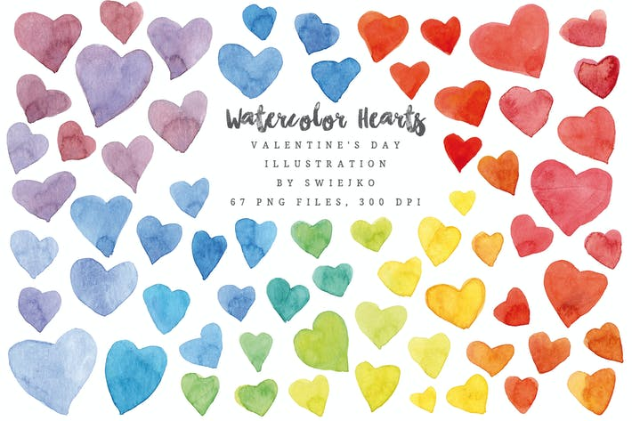 Thumbnail for Watercolor Rainbow Hearts, Valentine's Day
