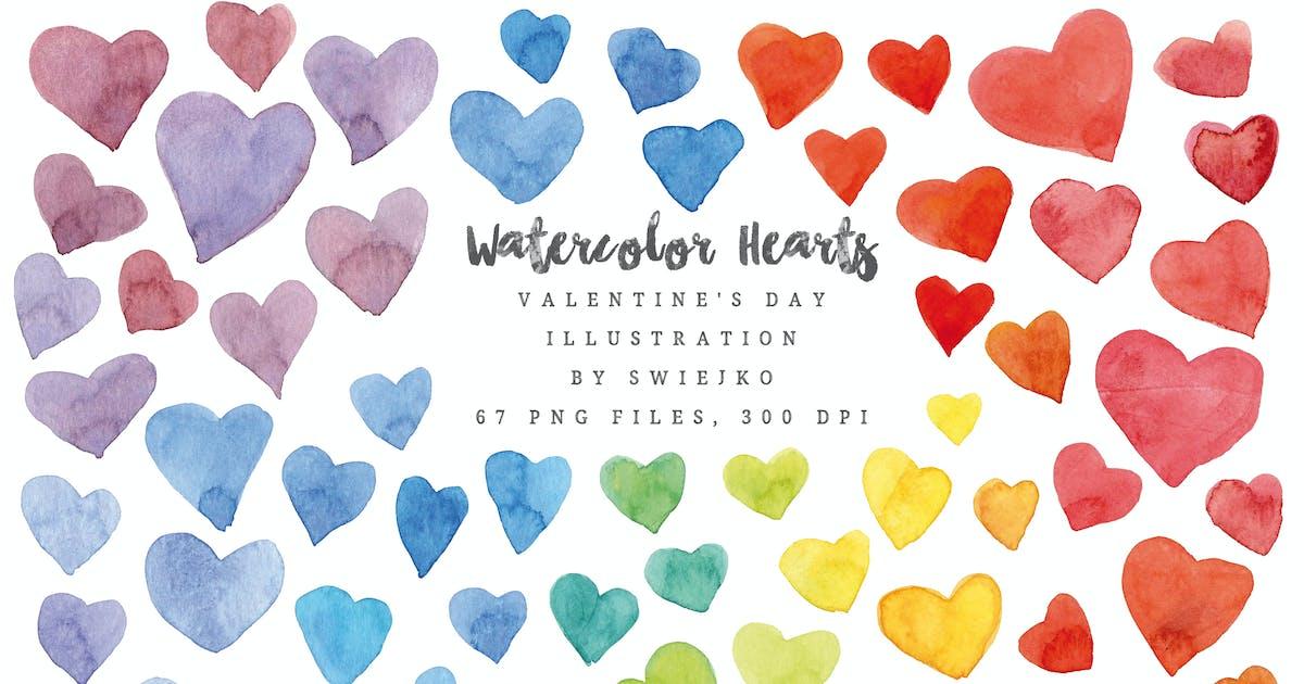 Download Watercolor Rainbow Hearts, Valentine's Day by swiejko