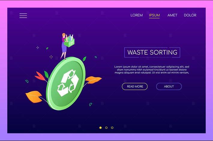 Thumbnail for Waste sorting - colorful isometric banner
