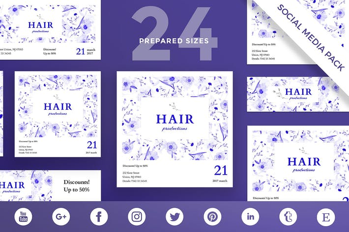 Thumbnail for Hair Salon Day Social Media Pack Template