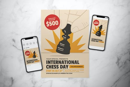 International Chess Day Flyer Set