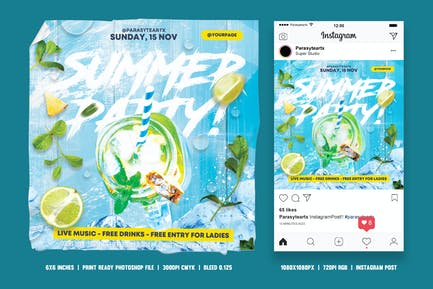 Summer Party Square Flyer & Instagram Post