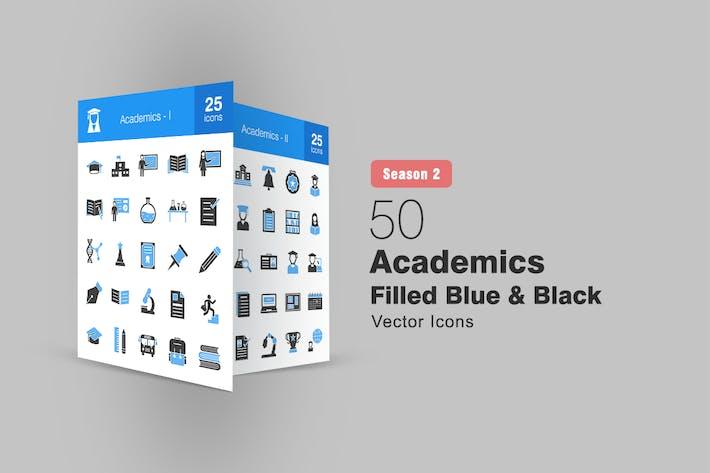 50 Akademiker gefüllt blaue und schwarze Icons Saison II