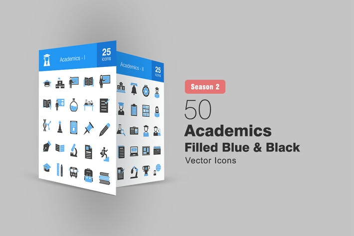 Thumbnail for 50 Academics Filled Blue & Black Icons Season II