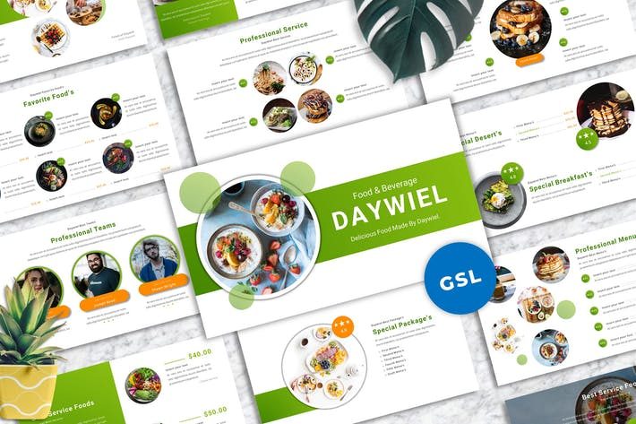 Daywiel - Food & Beverage Googleslide Templates