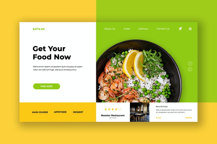 Thumbnail for Eat Food Hero Header PSD Template