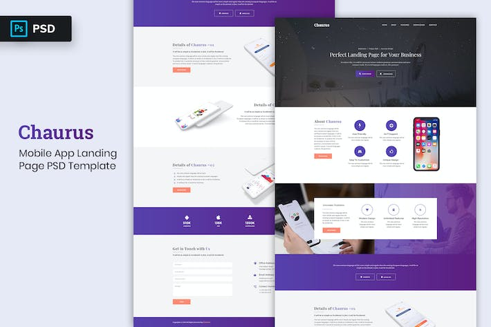 Thumbnail for Mobile App - Landing page PSD Template