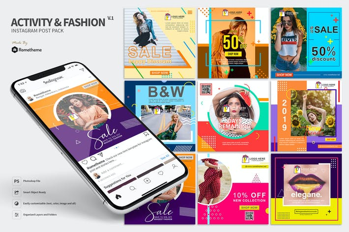 Thumbnail for Activity & Fashion - Instagram Post Pack HR