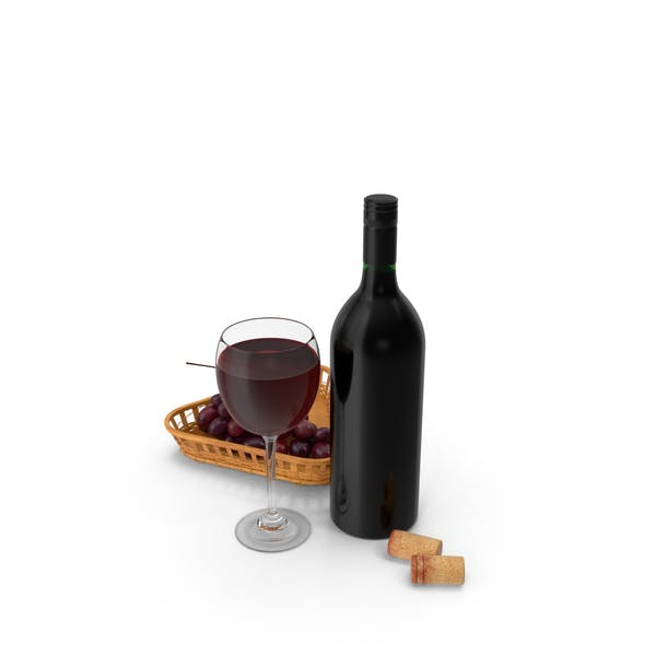 Thumbnail for Bottle Of Wine With Glass and Grapes