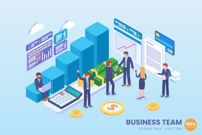 Thumbnail for Isometric Business Team Vector Concept