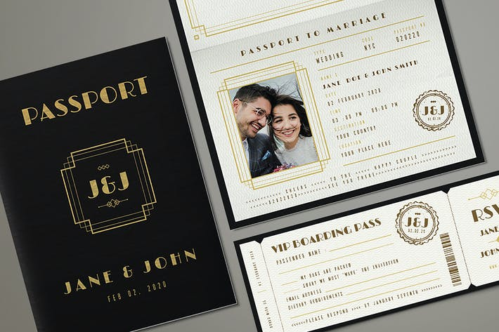 Thumbnail for Art Deco Passport Wedding Invitation