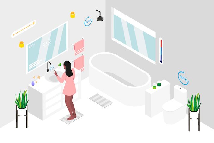 Thumbnail for Smart Home Bathroom Isometric Illustration