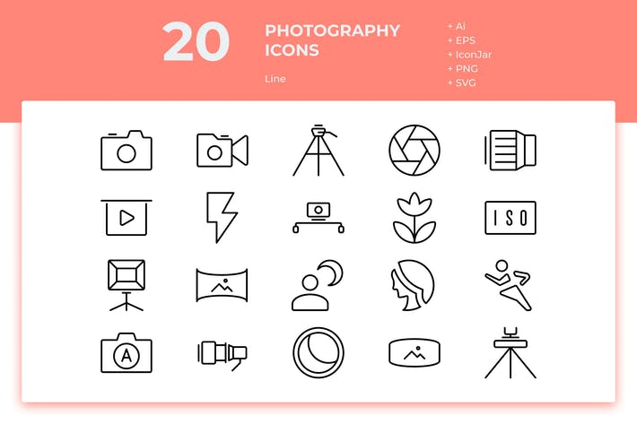 Thumbnail for 20 Photography Icons (Line)