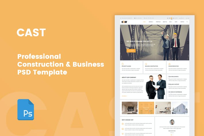 Thumbnail for CAST - A Construction & Business PSD Template