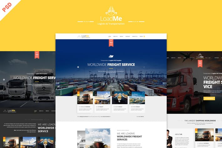 Thumbnail for LoadMe - Logistic & Transportation PSD Template