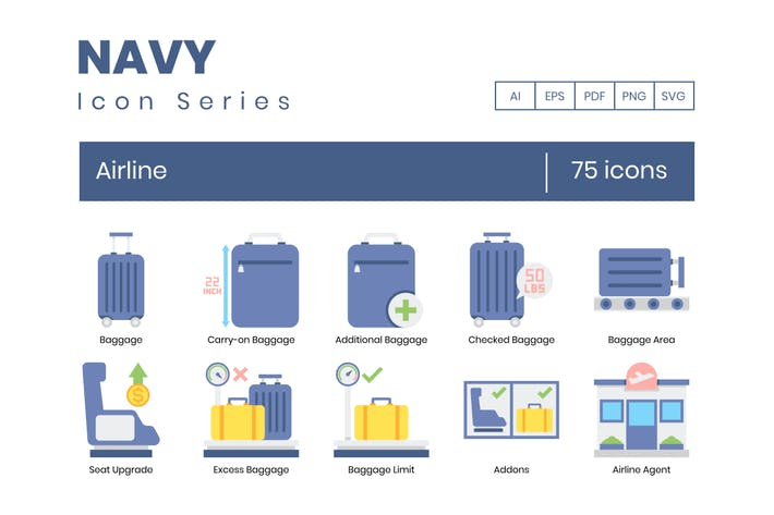 Thumbnail for 75 Airline Icons | Navy Series