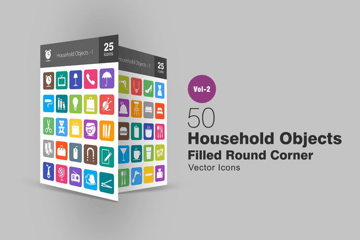 50 Household Objects Filled Round Corner Icons