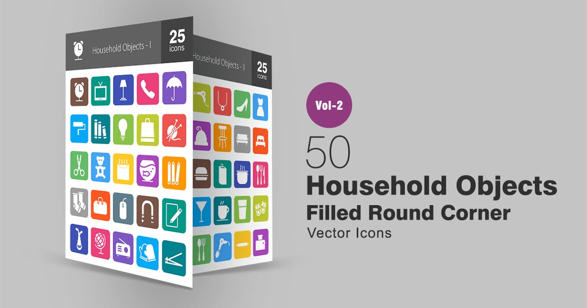 Download 50 Household Objects Filled Round Corner Icons by IconBunny