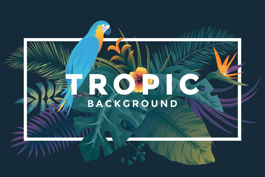 Various Tropical background with jungle plants