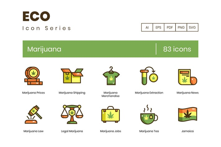 Thumbnail for 83 Marijuana & Weed Icons | Eco Series