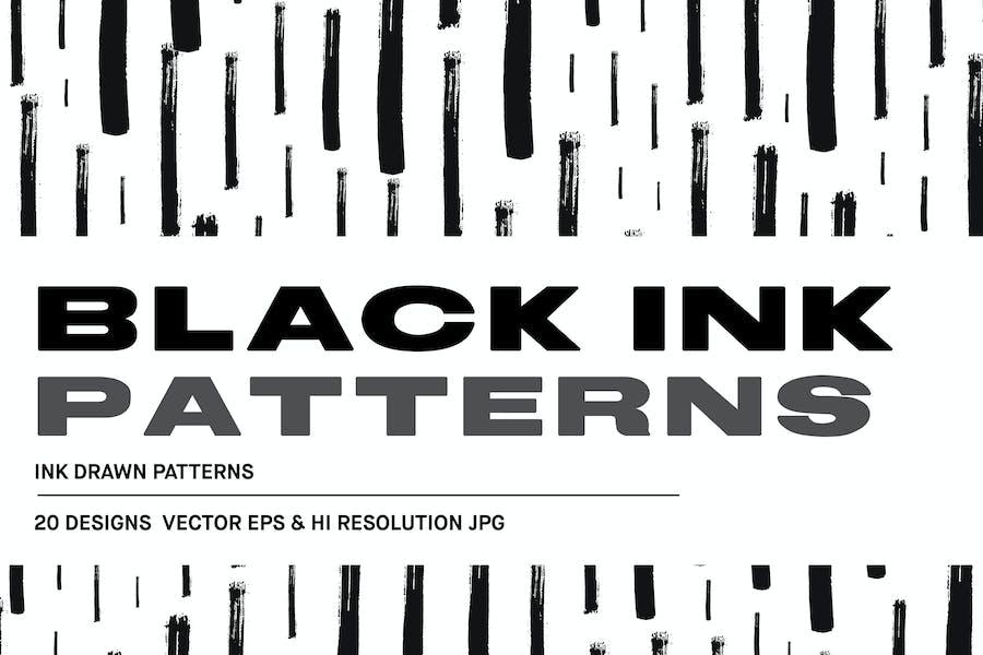 Schwarze Tinte gezeichnete Muster