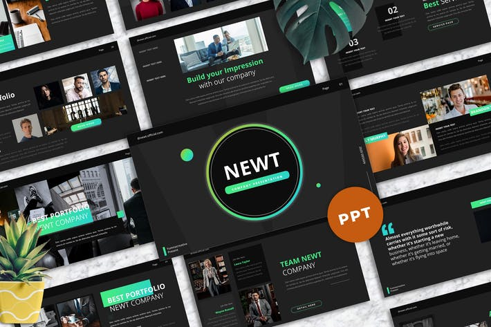 Thumbnail for Newt - Company Profile Powerpoint Templates