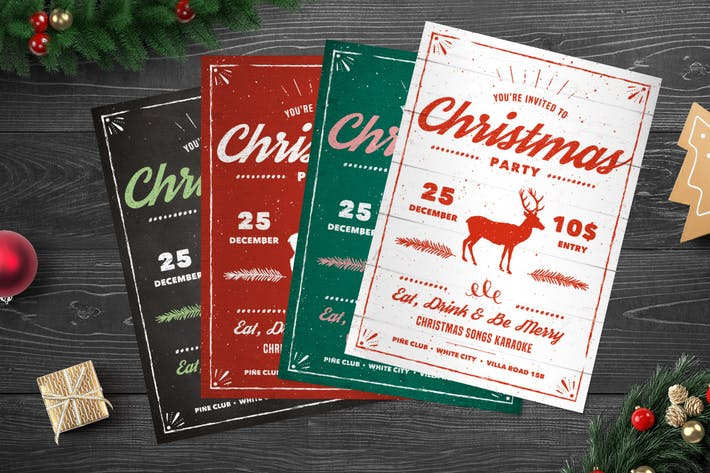 Thumbnail for Vintage Christmas Party Flyer