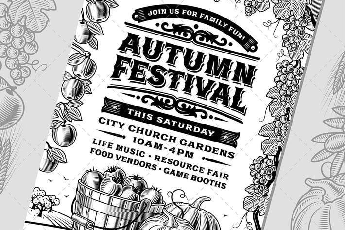 Thumbnail for Vintage Autumn Festival Poster Black And White
